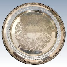 English Rogers Brothers  Silver Plated Round Serving Tray