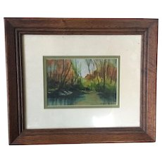 American Artist Signed Mahogany Framed Watercolor Painting Circa 1970's