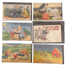 Assortment of American Comic Greeting Postcards Circa 1940's