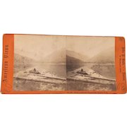 19th Century American views Photograph John P. Soul Boston rowing boat in Echo Lake & Franconia Notch New Hampshire