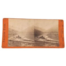 19th Century American views Photograph John P. Soul Boston rowing boat in Echo Lake & Franconia Notch New Hampshire
