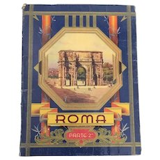 Mid Century Italian Collectible Fold out Photo Book of Rome includes monuments and Descriptions