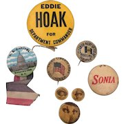 19th/20th Century Assortment of Eight  Political and war memorabilia Pins