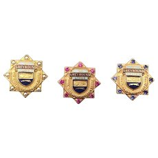 Three Vintage Greyhound Service Hat Pins awarded to Tenured Vehicle Operators