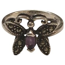 Vintage Sterling 925/1000 Silver Butterfly Ring with Amethyst  Center Stone