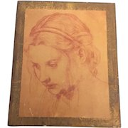 Mid-Century European Folk Art  Sketch of A Maiden on Walnut Wood