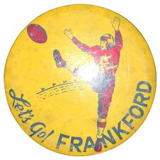 Vintage Hand Painted Lets Go Frankford -High School Commemorative Sports Memorabilia Pin 1920's