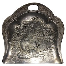 Vintage Art Deco Style Pewter Crumb pan with Peacocks and Dragons Engraved with Makers Mark