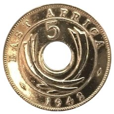 Mid Century Unique East African Five Cent Coin Pin  Circa 1942