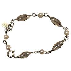 Vintage Karen Lynne Signed 12 k Gold Filled Bracelet with Simulated Pearls Circa 1950's