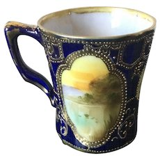 Early 20th Century Japanese Hand Painted Cobalt and Gold Mug