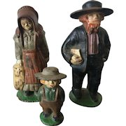 19th Century Cast Metal Hand Painted Traditional Amish Family Figurines