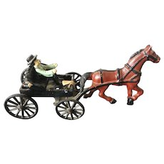 Vintage Custom made Lancaster Toy Mfg. Company Cast Iron Toy Horse & Buggy Carriage Driver