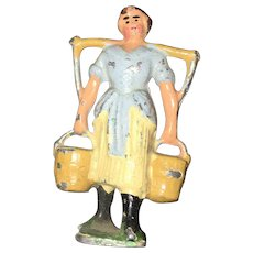 Vintage John Hill & Company English Lead Cast Farm Lady Figurine