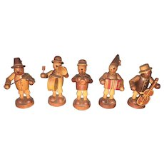 Vintage European Folk Arts & Crafts Hand Painted and carved Musical Orchestra