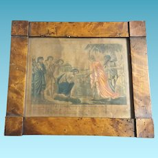 19th Century Wood Framed Lithograph Joseph as Royal Son Reuniting with his Brethren in Egypt