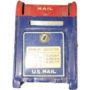 Miniature United States Postal Service  Tin Coin Mail Box Designed in 1960's