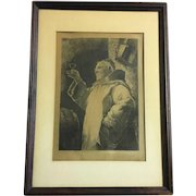 19th Century German lithograph depicting a Monk holding a glass signed by artist