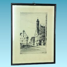 Original Lithograph of German Marketplace Signed Paul Geissler Dated 1919