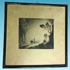 Vintage Charcoal Drawing of English Countryside Scene Circa 1910's Signed by artist
