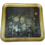 Early 20th Century Victorian Style Oil on Board Interior Floral Arrangement Painting
