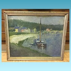 19th Century Oil on Canvass Painting of Ship Docked Port side signed by artist