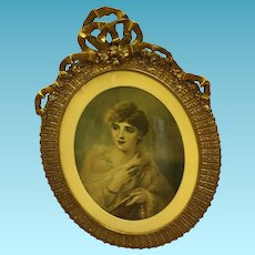 "19th Century  Framed Cameo Portrait Painting ""After The Ball"" By Belgian Pierre Oliver Joseph Coomans"