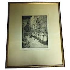 """Vintage Judaica Etching of """"The Wailing Wall"""" in Jerusalem by Saul Raskin"""