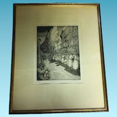 "Vintage Judaica Etching of ""The Wailing Wall"" in Jerusalem by Saul Raskin"