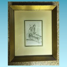 Mid Century Czechoslovakian Etching of Mother and Baby in Crib Signed Mateja