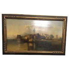 19th Century Artist Signed Oil on Board Amsterdam Scene
