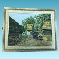 Mid Century Artist Signed Oil on Board Horse Drawn Carriage entering a Country Village