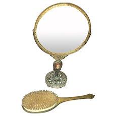 Vintage Art Deco Style Ladies Vanity Set Bronze Carved Gilded Mirror and Matching Brush