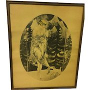 Vintage Bernart French Art Deco Style Color Lithograph  Artist signed Circa 1920's