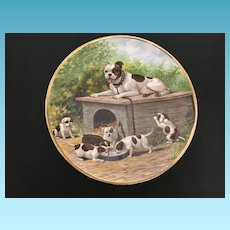Mid Century English Terrier and Puppies Porcelain Transfer Charger