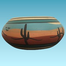Vintage Native American Hand Painted Southwest Pottery Bowl Circa 1960's