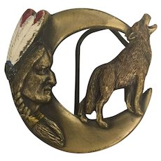 Vintage Tribal  Brass Indian & Wolf Carved Belt Buckle Signed and Numbered Circa 1992