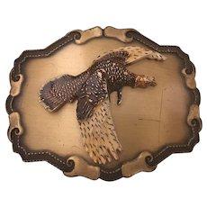 Vintage Raintree Native American Carved Brass & Enamel  Vulture on a  Custom Belt Buckle