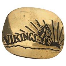 Vintage Brass Carved Vikings Belt Buckle Circa 1970's