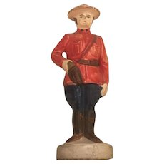 Hand Painted Plastic On Wooden Base Canadian Mounty Troop Souvenir Circa 1960's