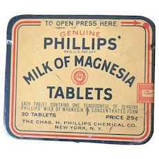Vintage Phillps Milk Of Magnesia Vintage Medical Tin Circa 1970's