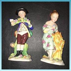 Antique German Hand Painted  Sitzendorf Figurines Circa 1860