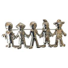 Silvertone United World Diversity Brooch Pin