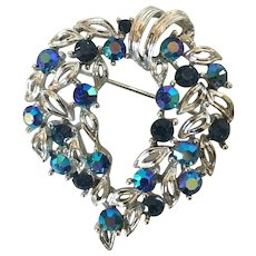 Vintage Designer Brooch by Jensen with Blue Crystals