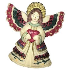 Vintage Hand Painted Holiday Angel Brooch Pin