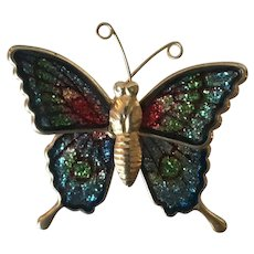 Vintage Multicolored Butterfly Brooch Pin