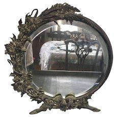 French Art Nouveau Carved Mirror with Beveled Glass Circa 1910