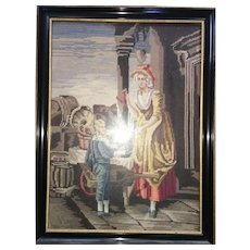 Wood Framed Picture Mother Greeting Daughter at Entry English Provincial Scene Needlepoint Hand Stitched Circa 1930's