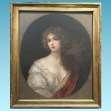 19th Century Wood framed English Cameo Lithograph of Nell Gwynne # 459/1459