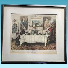 Aristocratic Couple Dining in Backdrop Cameos of Younger Years Campbell Prints New York #8612 Original Signed Proof